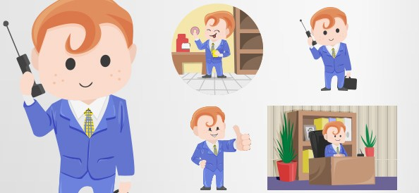 Redhead Businessman Vector Character