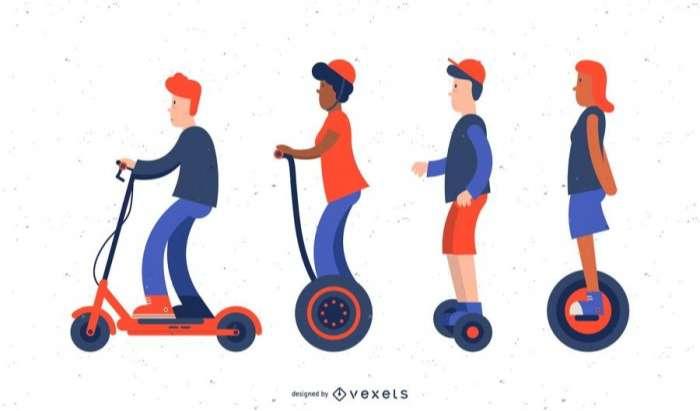 Scooter illustration set