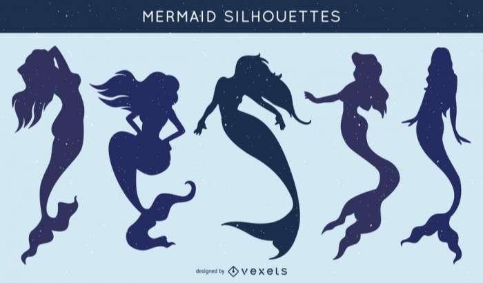 Set of mermaid silhouettes