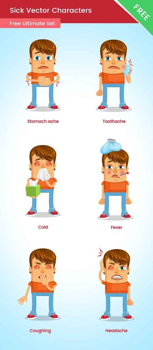 Sick Vector Cartoon Character Free Set