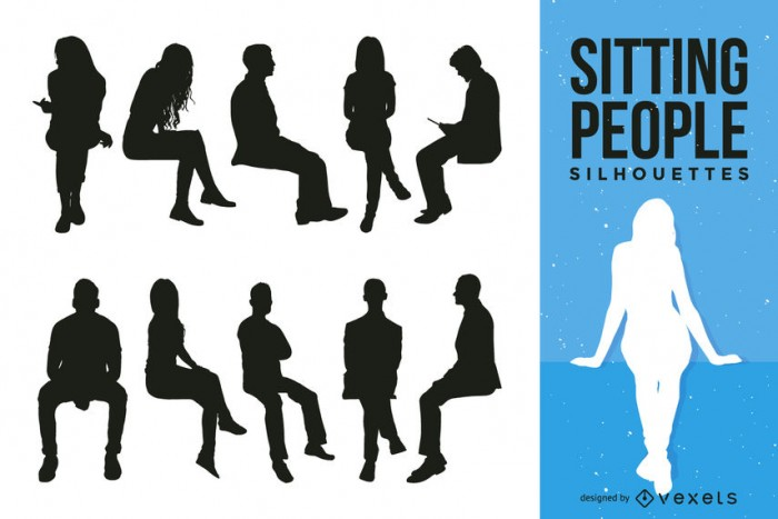 Sitting people silhouette collection