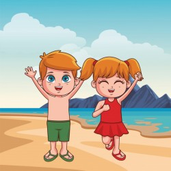 Summer kids cartoon