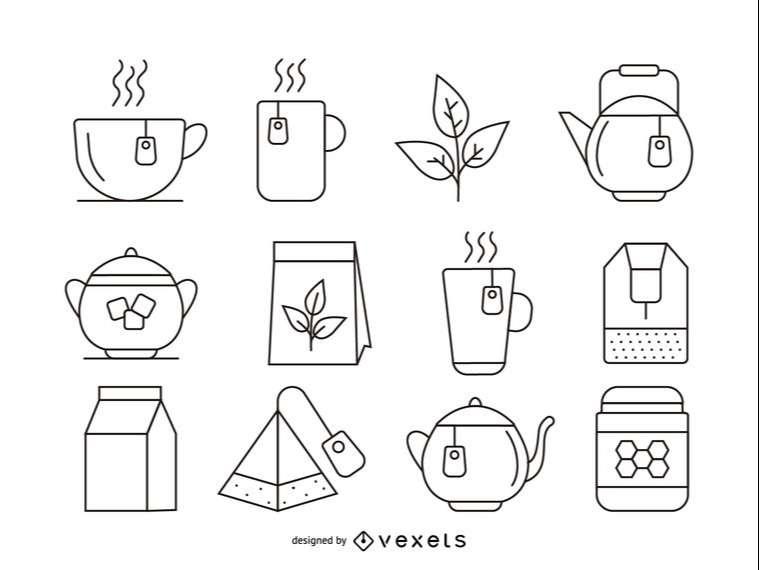 Tea stroke icons set
