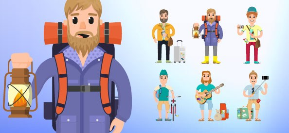 Travel Vector Character Set