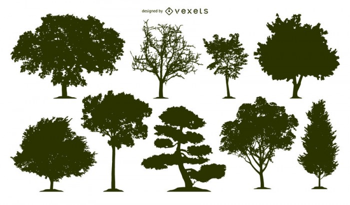 9 tree silhouettes set
