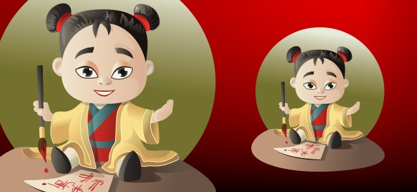 Vector Asian Girl cartoon character