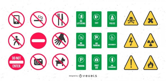 Vector Healthy and Safety Signs