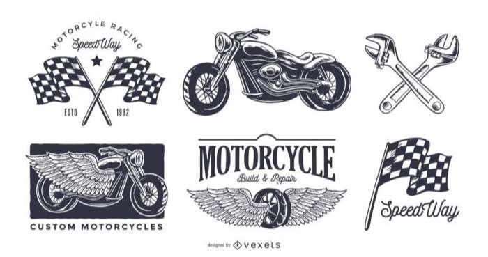 Vintage motorcycle logo set
