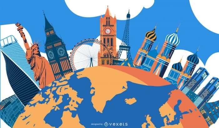 World Landmarks Illustration Design