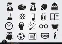 Academic school icons set