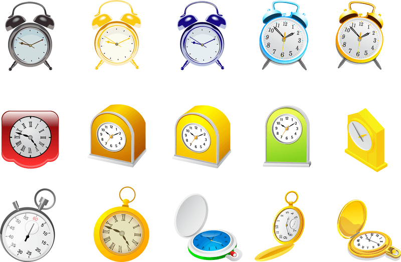 Alarm Clock And Stopwatch Vector