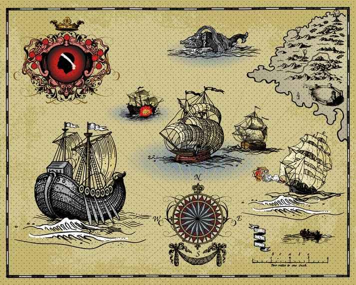 Ancient Sailing Warships Vector
