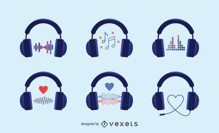Audio headphones icons set