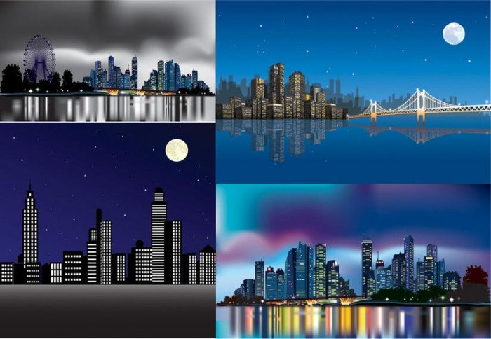 Beautiful Abstract City Pack in the Night