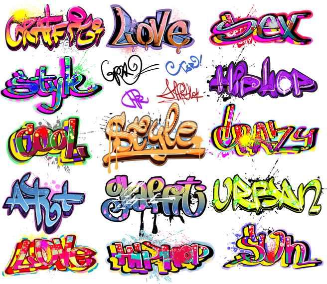 Beautiful Graffiti Font Design 01 Vector