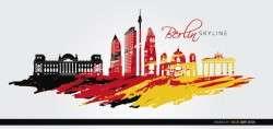Berlin skyline flag painted background