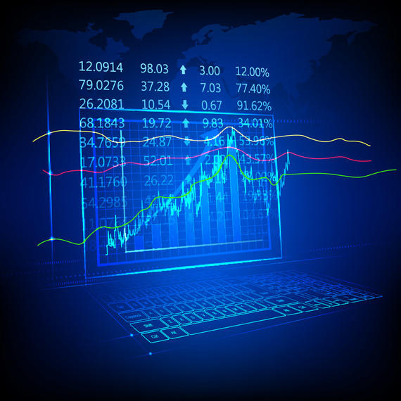 Blue Tech Fluorescent Financial Chart Background
