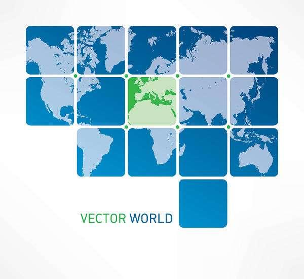 Blue Tiled World Map