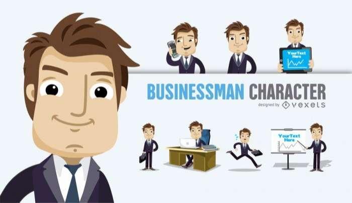 Businessman Cartoon character several poses