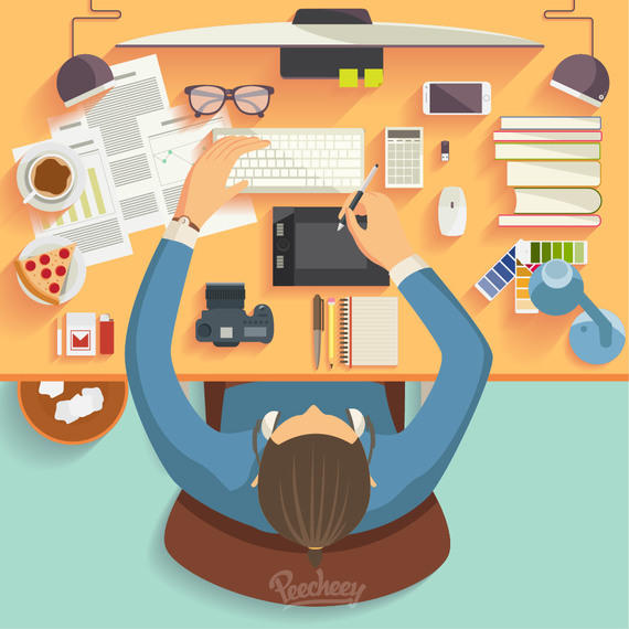 Businessman Cartoon Working on Desk