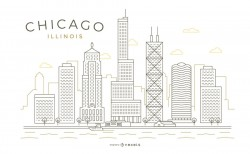 Chicago stroke thin line skyline