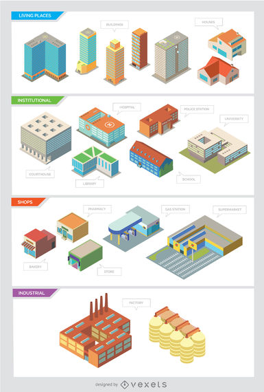 City buildings – Isolated and Isometric