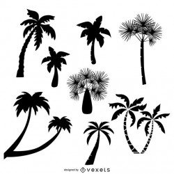 Collection of palm trees silhouettes