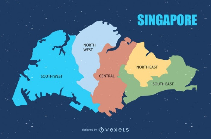 Colored Singapore urban map