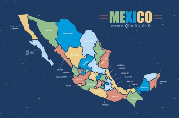 Colorful Mexico map
