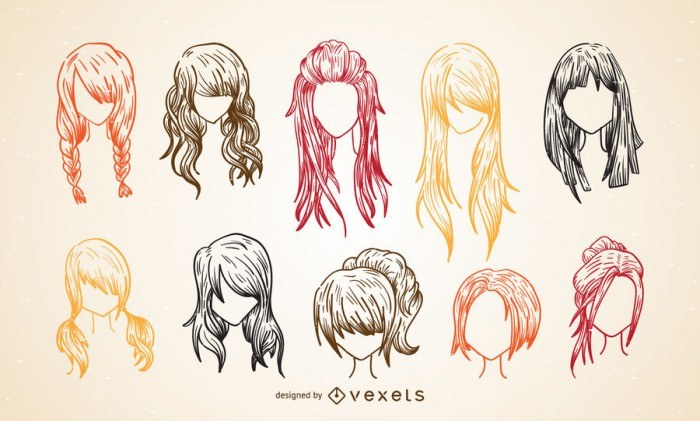 Colorful women haircut sketch set
