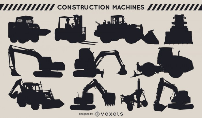 Construction machines silhouette set