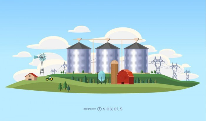 Country industry landscape illustration