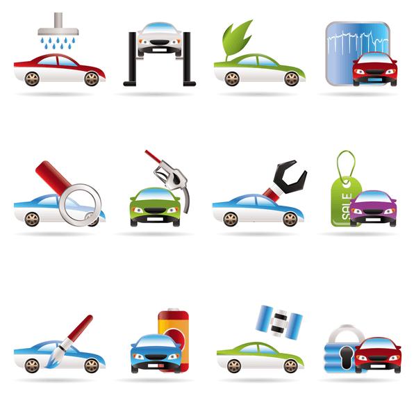 3D Car Services Vector Icons