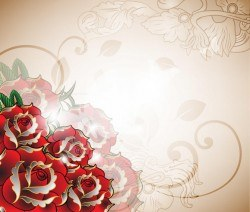 Decorative Red Roses Romantic Background