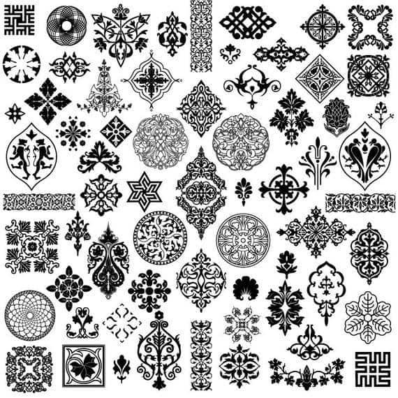 Decorative Vintage Black-White Ornament Set