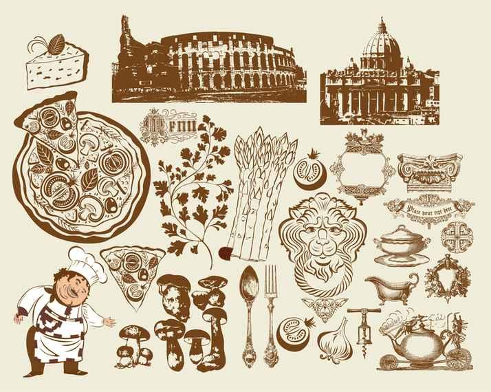 European Restaurant Design Vector