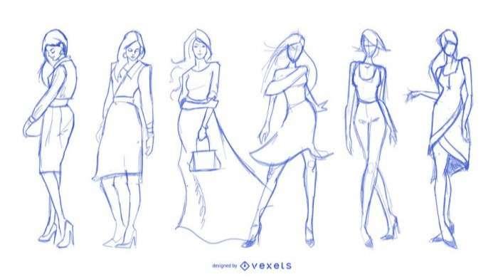 Fashion drawings set