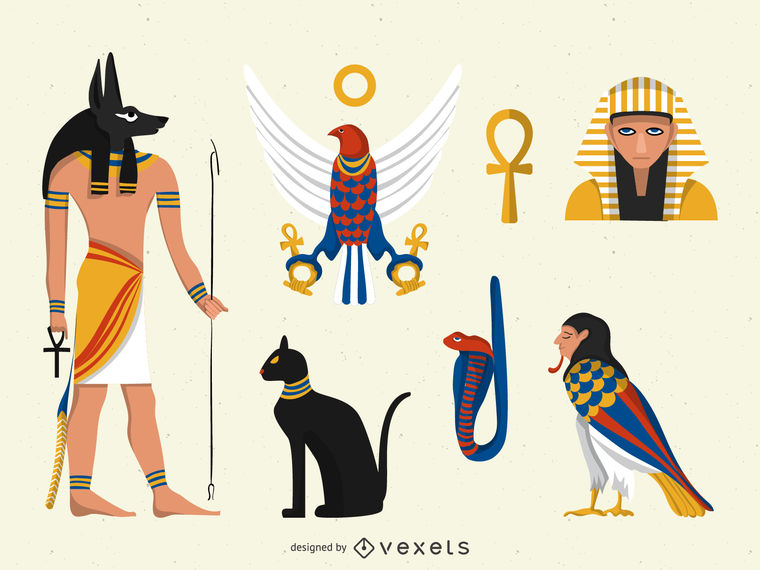 Flat Egypt illustrations set