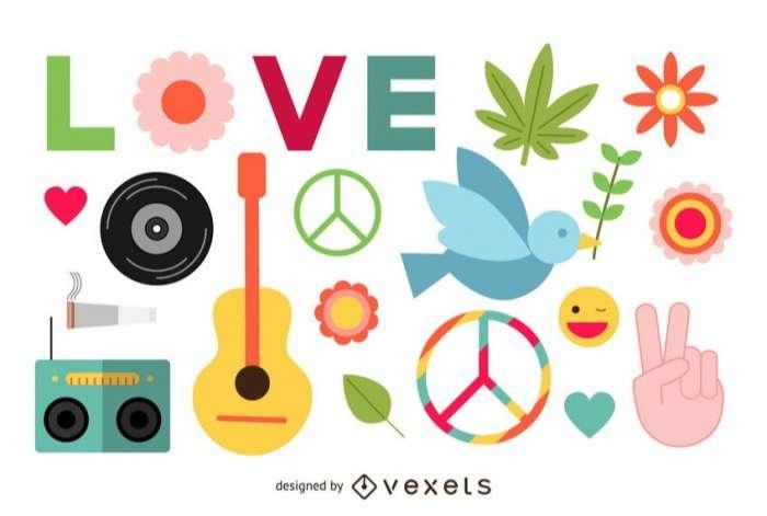 Flat hippie peace elements set