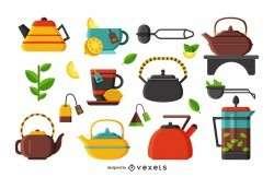 Flat illustration tea icons set