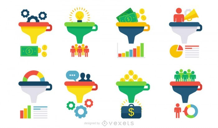 Flat infographic funnel set