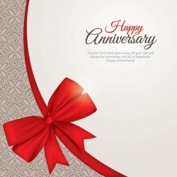 Floral Pattern Anniversary Card with Ribbon