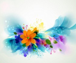 Fluorescent Colorful Floral with Grungy Stain