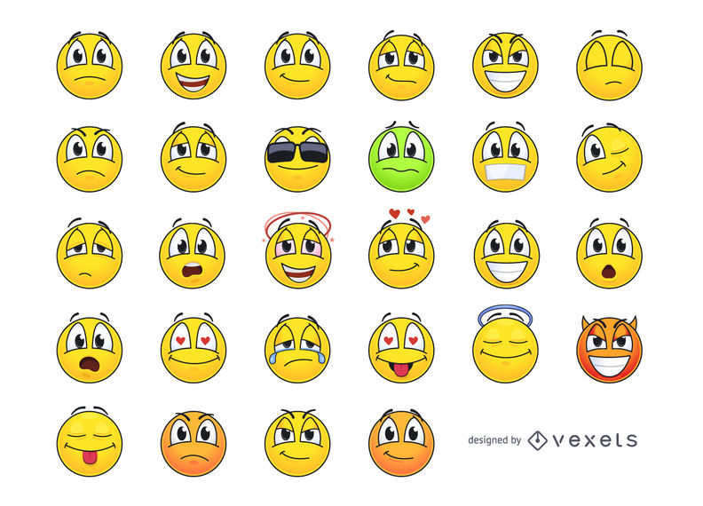 Funky Yellow Emoticon Smiley Pack