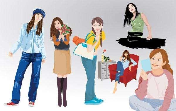 Girl Lifestyle Vector Set 1