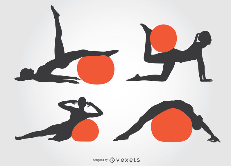 Girl Pilates silhouette with ball