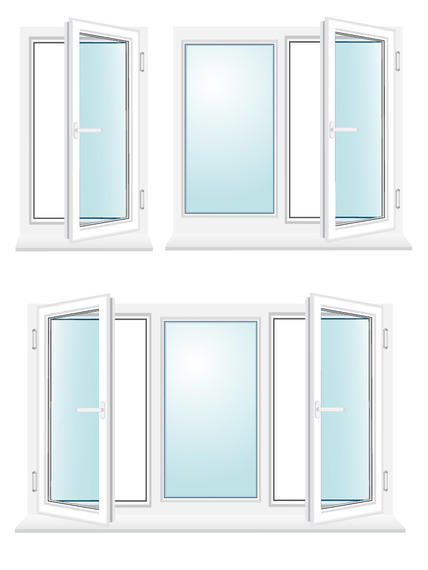 Glossy Window Set with Blue Glasses