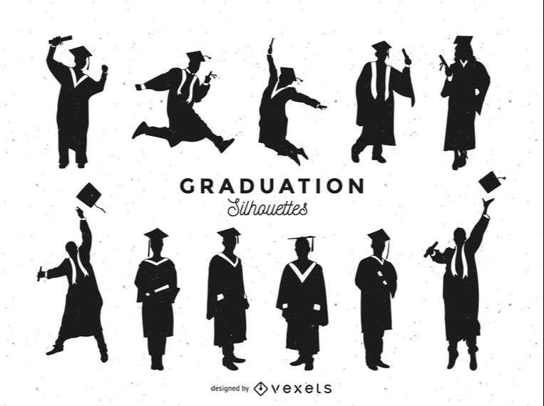 Graduation silhouettes set