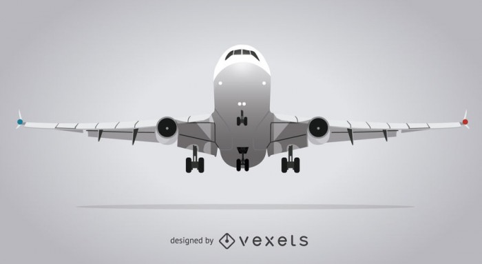 Gray isolated airplane illustration