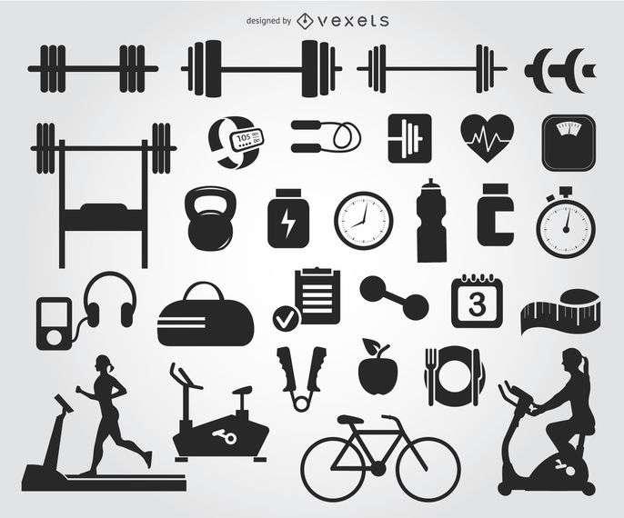 29 Gym icons silhouettes